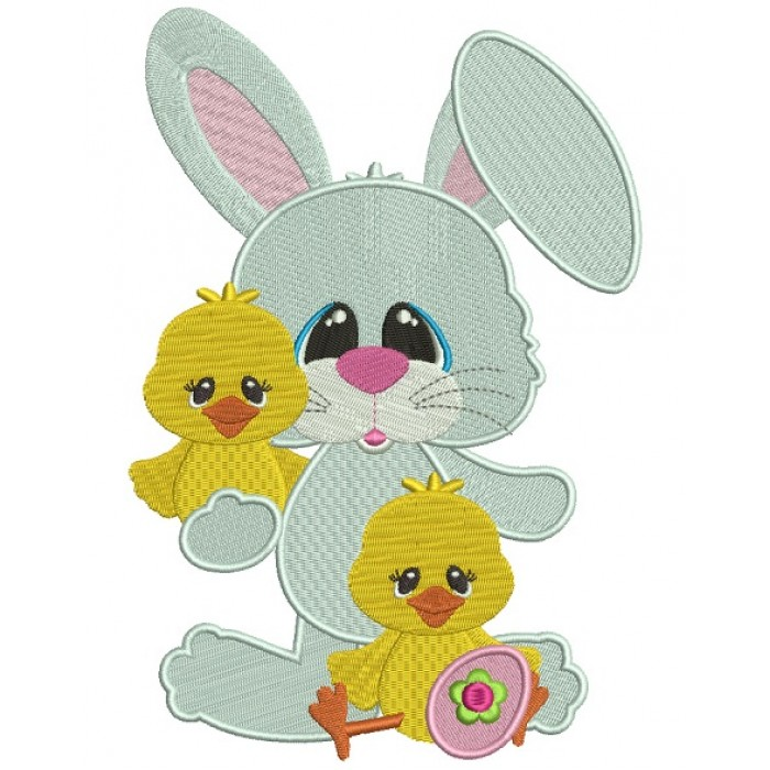Bunny With Little Chicks Easter Filled Machine Embroidery Design Digitized Pattern