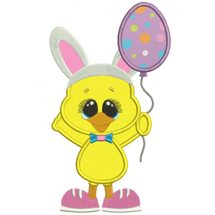 Chick Wearing Bunny Ears Holding Cute Balloon Easter Applique Machine Embroidery Design Digitized Pattern