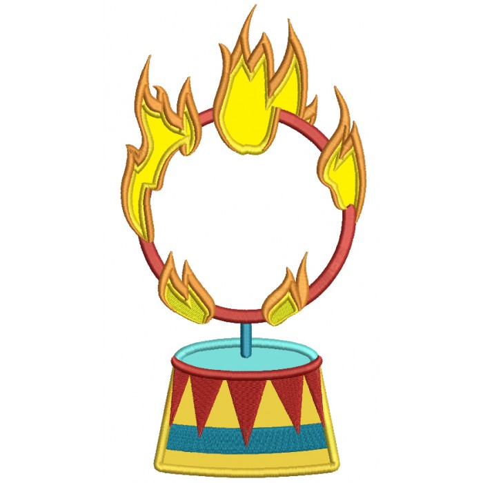 Circus Fire Ring Applique Machine Embroidery Design Digitized Pattern