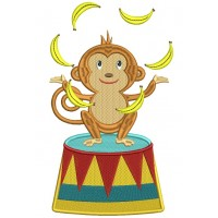 Circus Monkey Juggling Bananas Filled Machine Embroidery Design Digitized Pattern