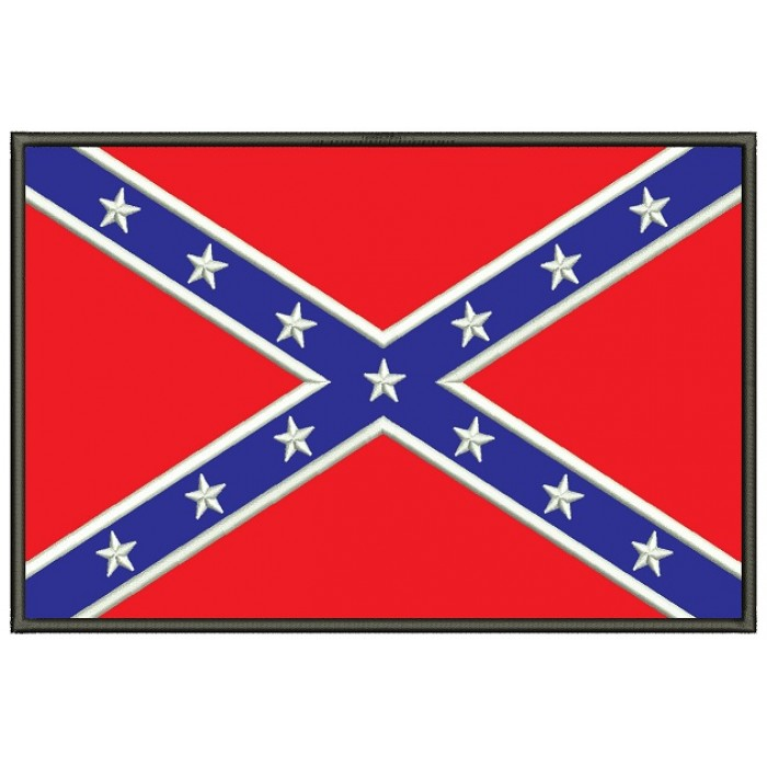 Confederate Flag Applique Machine Embroidery Design Digitized Pattern