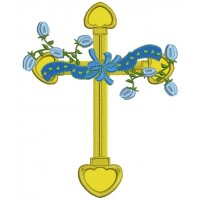 Cross With Flowers Applique Machine Embroidery Design Digitized Pattern