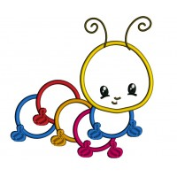 Cute Baby Caterpillar Applique Machine Embroidery Digitized Design Pattern