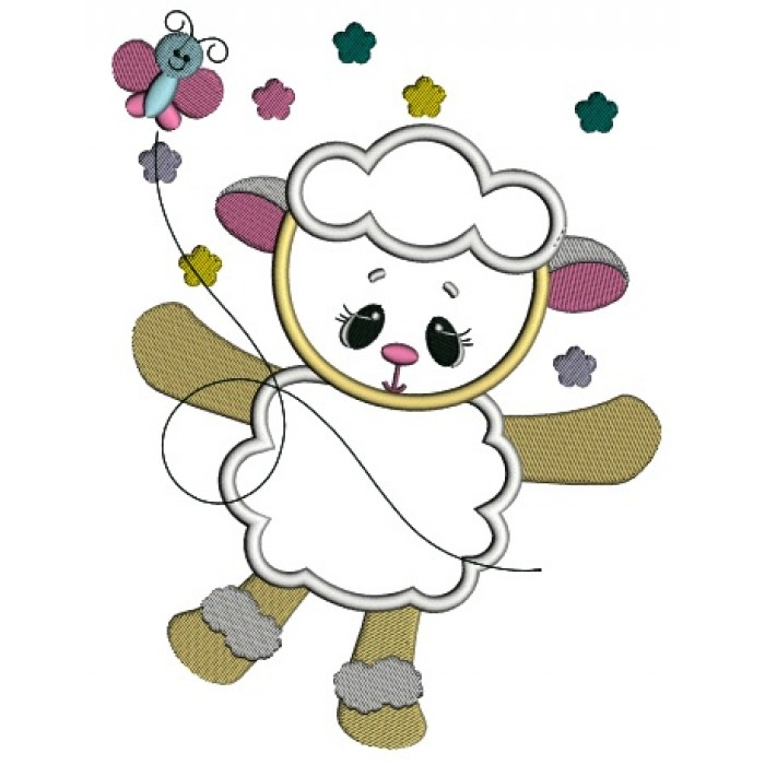 Cute Baby Lamb With Butterfly Easter Applique Machine Embroidery