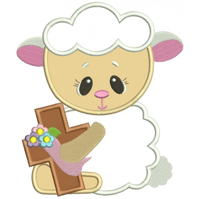 Baby Lamb With A Cross Easter Applique Machine Embroidery Design