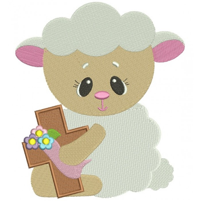 Cute Baby Lamb With a Cross Easter Filled Machine Embroidery Design Digitized Pattern