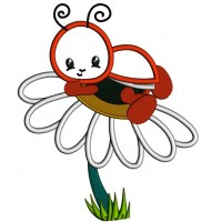 Cute Ladybug on a Daisy Applique Machine Embroidery Digitized Design Pattern