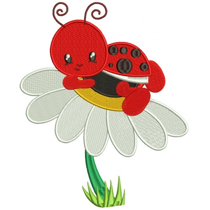Cute Ladybug on a Daisy Filled Machine Embroidery Digitized Design Pattern