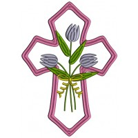 Decorative Cross With Flowers Applique Machine Embroidery Design Digitized Pattern