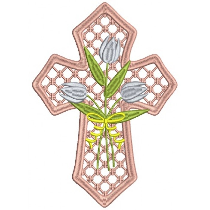 Decorative Cross With Flowers Filled Machine Embroidery Design Digitized Pattern