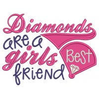 Diamonds are Girls Best Friends Applique Machine Embroidery Design Digitized Pattern