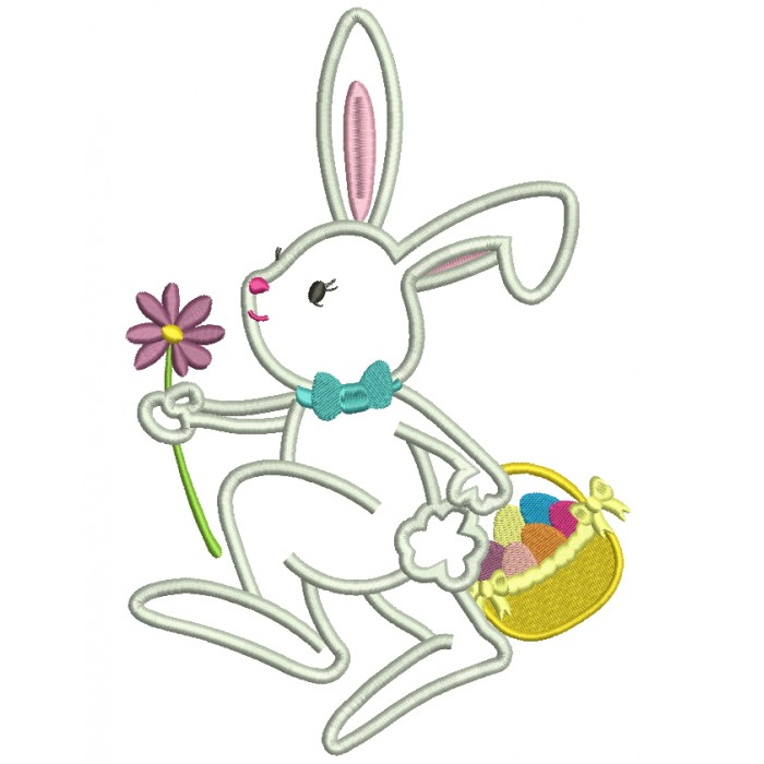 Easter Bunny With a Flower Applique Machine Embroidery Design Digitized Pattern