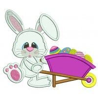 Easter Bunny With a Gardening Cart Wheel Applique Machine Embroidery Design Digitized Pattern
