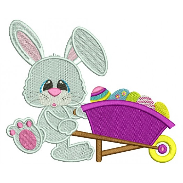 Easter Bunny With a Gardening Cart Wheel Filled Machine Embroidery Design Digitized Pattern