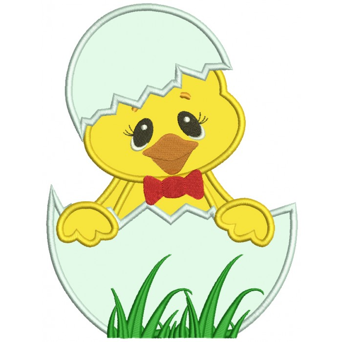 easter chick inside egg applique machine embroidery design digitized pattern - Easter Chick