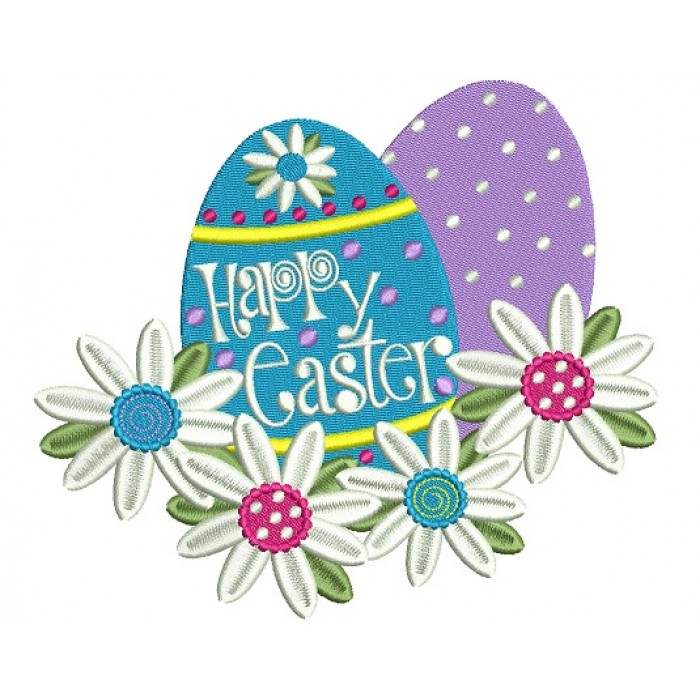 Happy Easter Two Eggs Filled Machine Embroidery Design Digitized