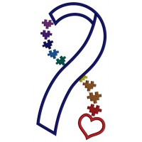 Heart Autism Awareness Ribbon Applique Machine Embroidery Design Digitized Pattern
