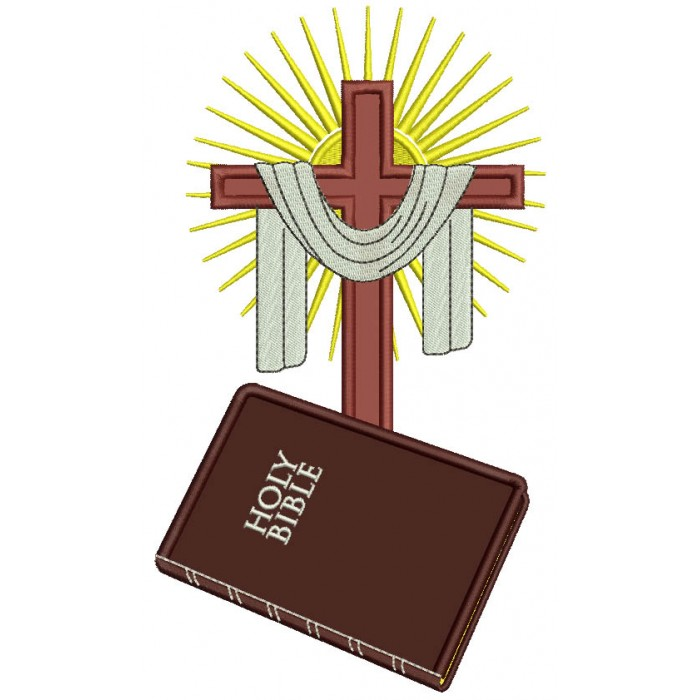 Holy Bible and Cross Applique Machine Embroidery Design Digitized Pattern