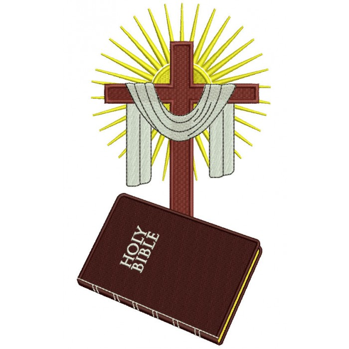 Holy Bible and Cross Filled Machine Embroidery Design Digitized Pattern