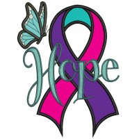 Hope Thyroid Cancer Awareness Ribbon Applique Machine Embroidery Design Digitized Pattern