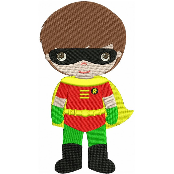 Instant Download Cute Robin's Little Brother (hands out) Superhero Machine Embroidery Filled Design