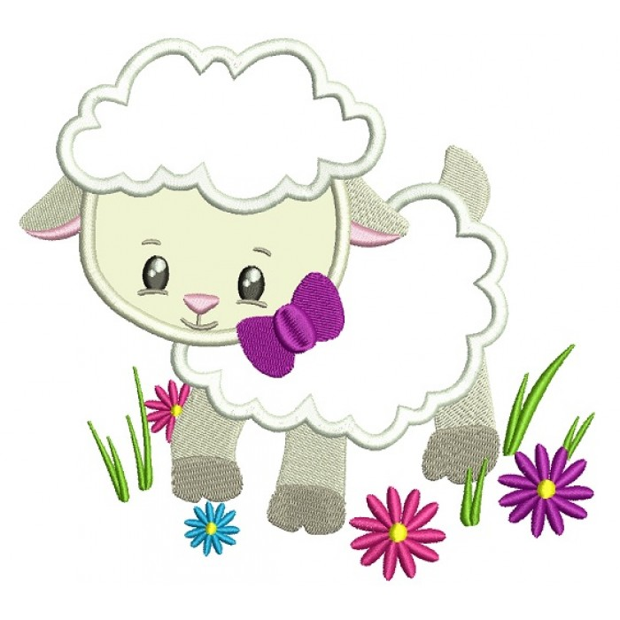 Little Lamb With A Cute Bow Easter Applique Machine Embroidery