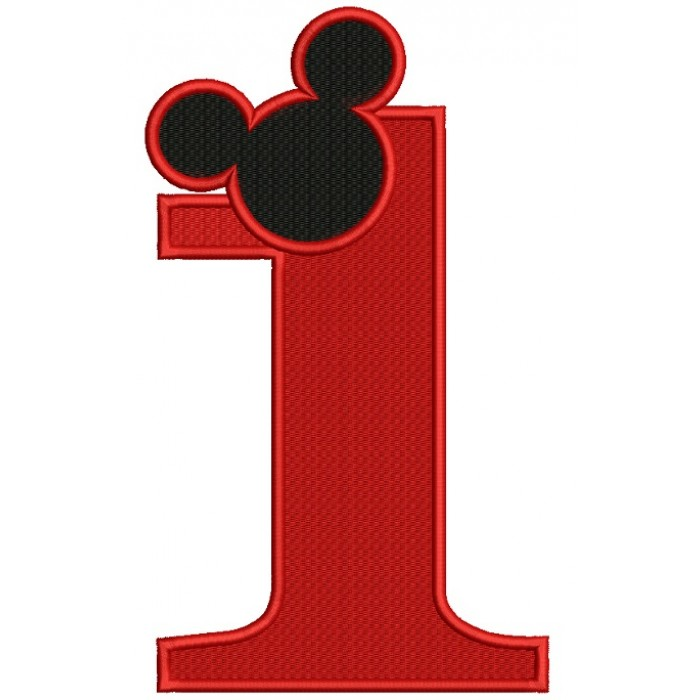 Looks Like Mickey Ears First Birthday Filled Machine Embroidery Design Digitized Pattern