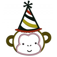 Monkey Wearing a Party Hat Birthday Applique Machine Embroidery Design Digitized Pattern