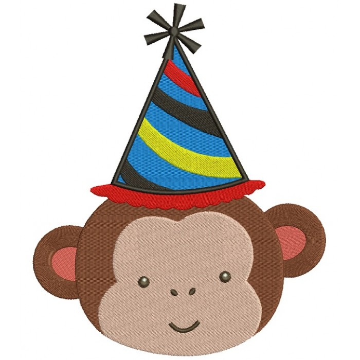 Monkey Wearing a Party Hat Birthday Filled Machine Embroidery Design Digitized Pattern