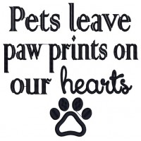 Pets Leave Paw Prints on Our Heart Dog Applique Machine Embroidery Design Digitized Pattern