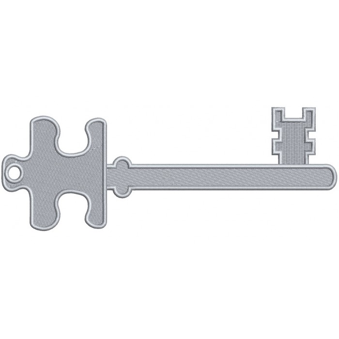 Silver Key Filled Machine Embroidery Design Digitized Pattern