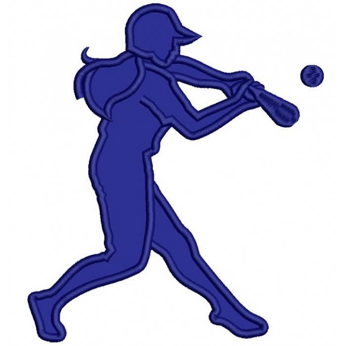 Softball Player Swinging Bat Sports Applique Machine Embroidery Design Digitized Pattern