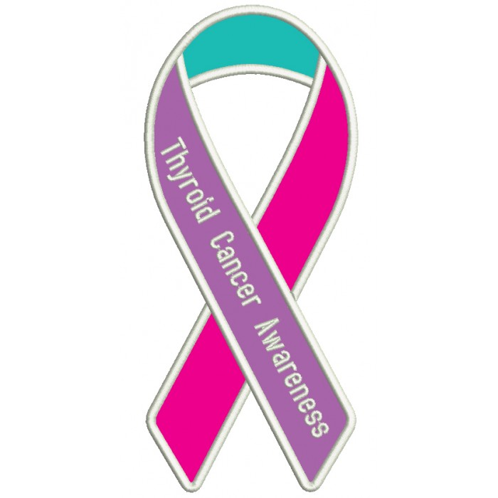 thyroid cancer awareness ribbon applique machine embroidery design
