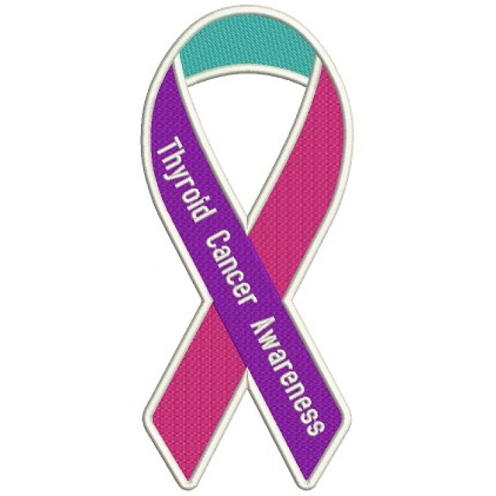 Thyroid Cancer Awareness Ribbon Filled Machine Embroidery Design Digitized Pattern