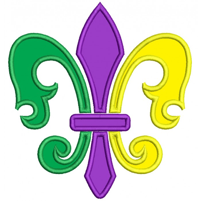 Fancy Mardi Gras Fleur de lis Applique Machine Embroidery Design Digitized Pattern