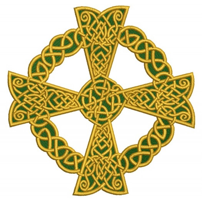 Irish Celtic Cross Filled Machine Embroidery Design Digitized Pattern