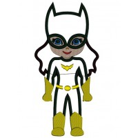Looks Like Girl Batman Superhero Wearing a Cape Applique Machine Embroidery Design Digitized Pattern