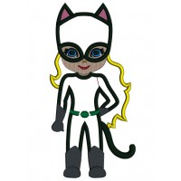 Looks Like Girl Cat Woman Superhero Wearing a Cape Applique Machine Embroidery Design Digitized Pattern