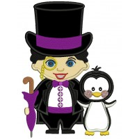 Looks Like Penguin from Batman Applique Machine Embroidery Design Digitized Pattern