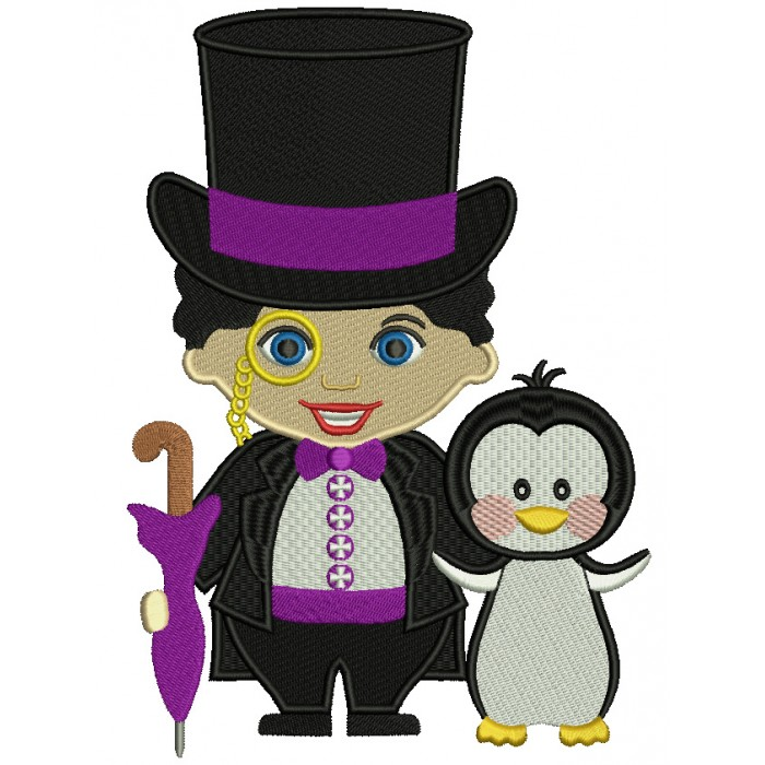 Looks Like Penguin from Batman Filled Machine Embroidery Design Digitized Pattern