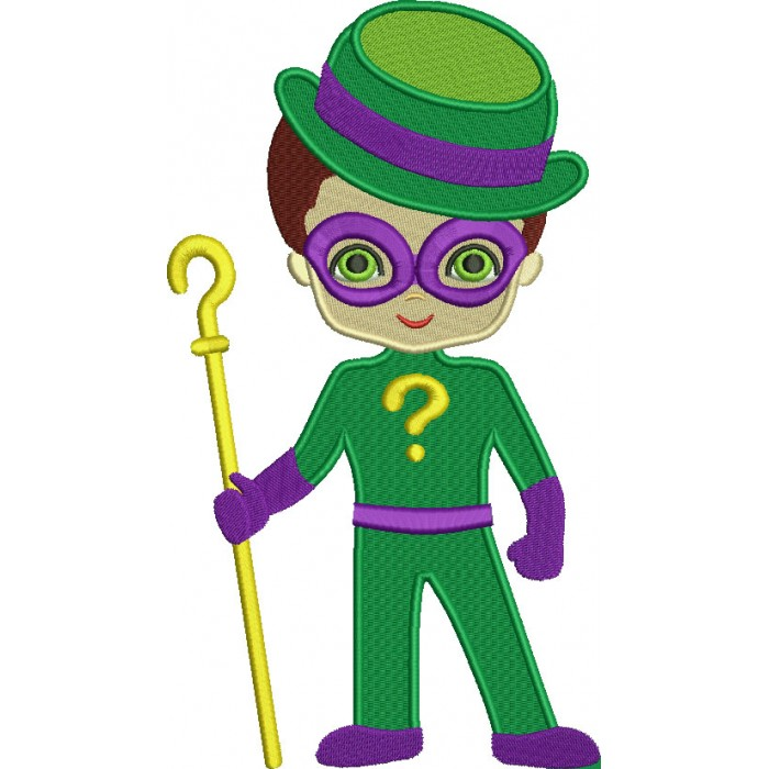 Looks Like Riddler From Batman Filled Machine Embroidery Design Digitized Pattern