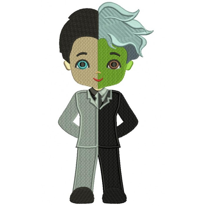 Looks Like Two Face Harvey Dent Batman Filled Machine Embroidery Design Digitized Pattern
