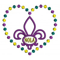 Mardi Gras Heart Shaped NOLA Fleur de lis Applique Machine Embroidery Design Digitized Pattern