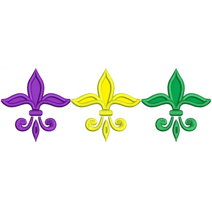 Mardi Gras Fleur de lis Applique Machine Embroidery Design Digitized Pattern