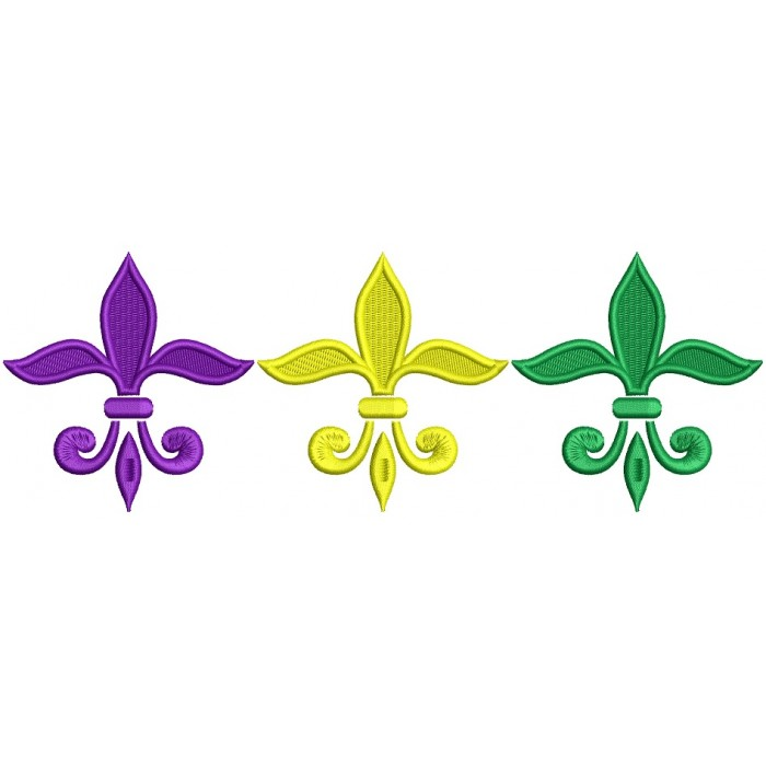 Mardi Gras Fleur de lis Filled Machine Embroidery Design Digitized Pattern