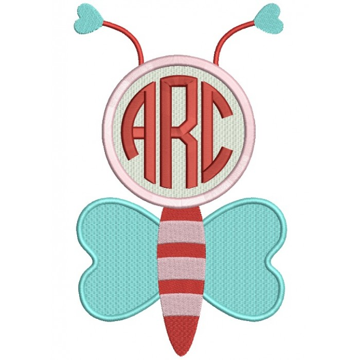 Monogram Bee With Hearts Filled Machine Embroidery Design Digitized Pattern