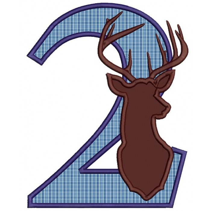 Second Birthday With Deer Hunting Applique Machine Embroidery Design Digitized Pattern