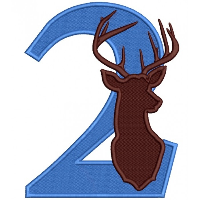Second Birthday With Deer Hunting Filled Machine Embroidery Design Digitized Pattern
