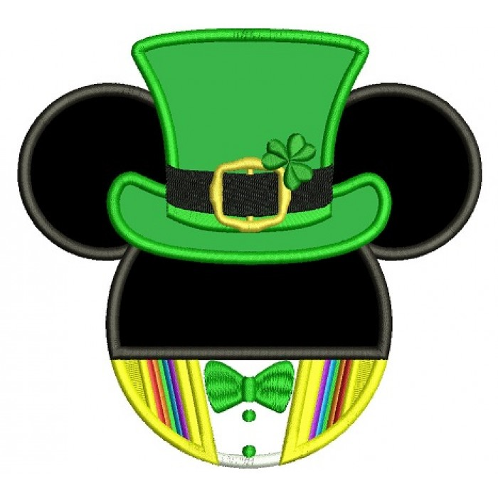 St Patricks Day Lucky Mickey Irish Applique Machine Embroidery Design Digitized Pattern