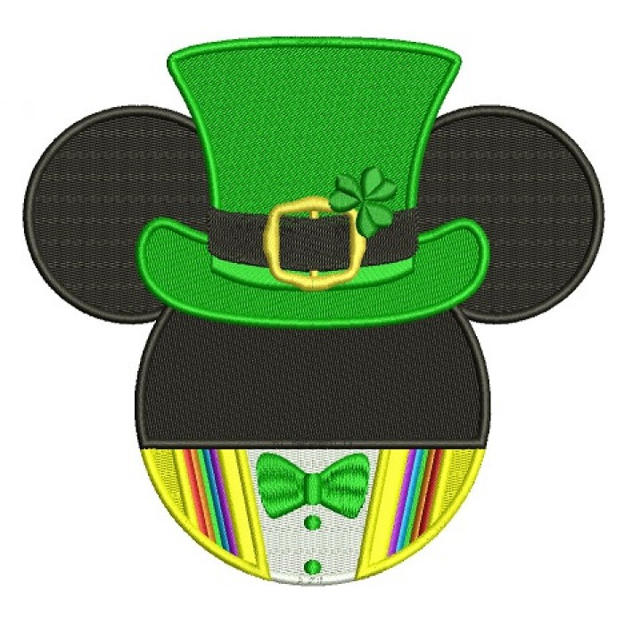 St Patricks Day Lucky Mickey Irish Filled Machine Embroidery Design Digitized Pattern
